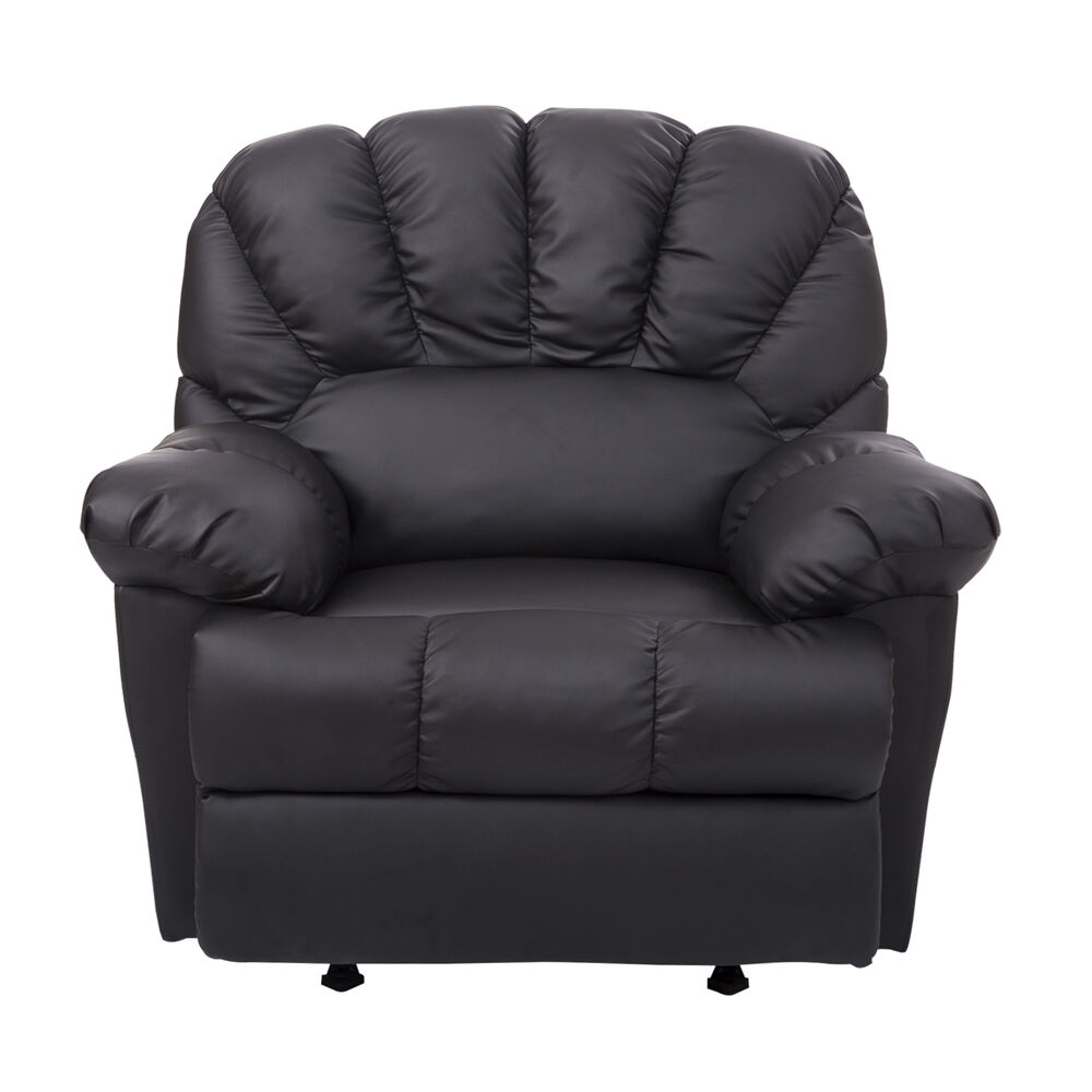 black leather oversized chair homcom new leather recliner chair rocking sofa single 11220 | s l1000