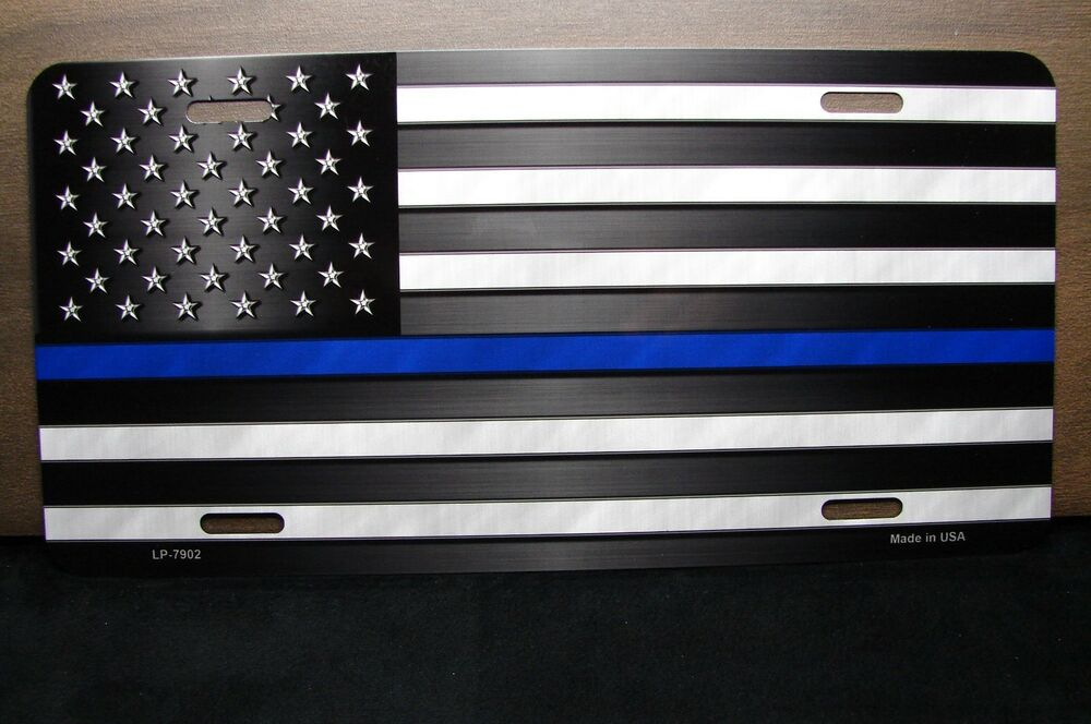 Thin Blue Line Police Metal Novelty Car License Plate Tag