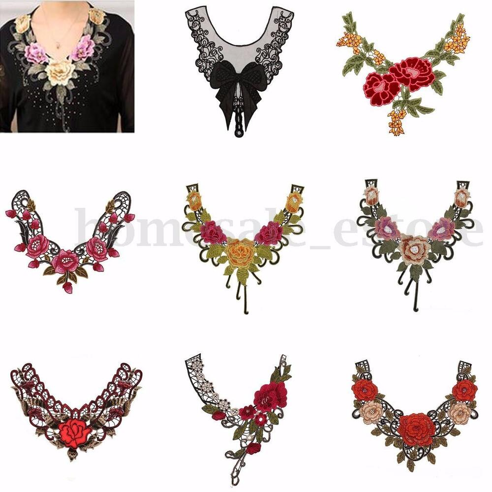 Lace embroidered floral neckline neck collar trim clothes