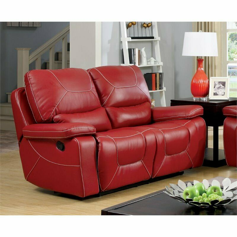 Furniture of america huskan leather reclining loveseat in red ebay Red sofas and loveseats