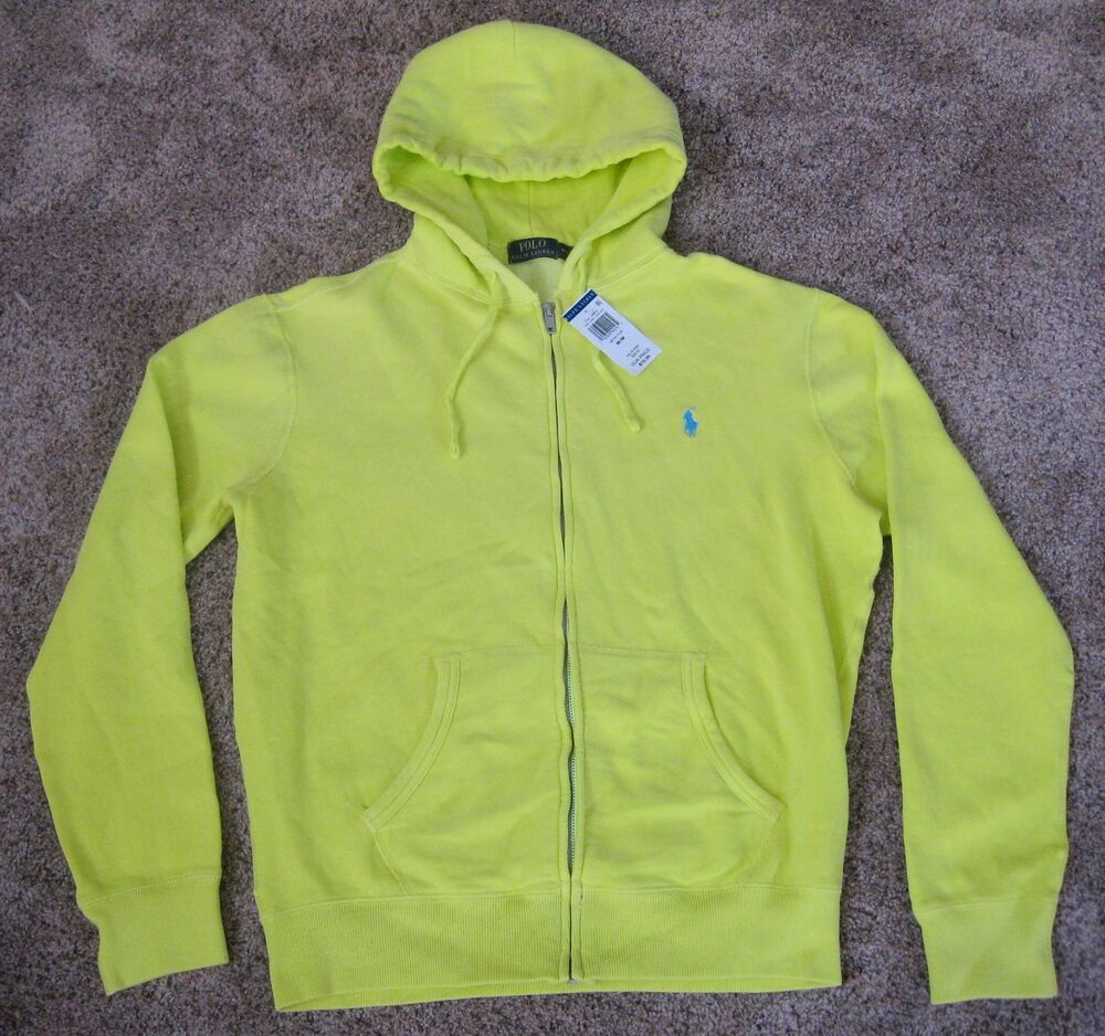 polo ralph lauren neon yellow full zip hooded sweatshirt jacket mens l lg hoodie ebay. Black Bedroom Furniture Sets. Home Design Ideas