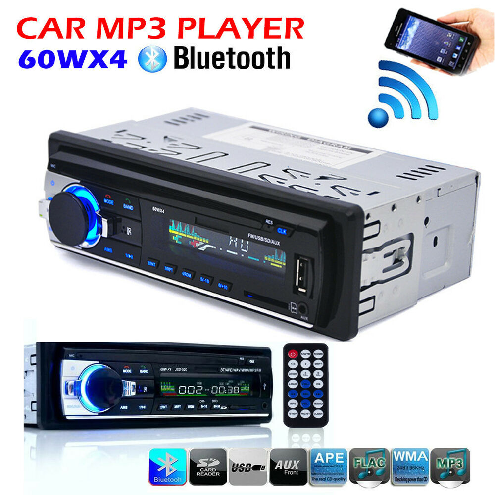 bluetooth car stereo audio 1 din in dash fm aux input. Black Bedroom Furniture Sets. Home Design Ideas