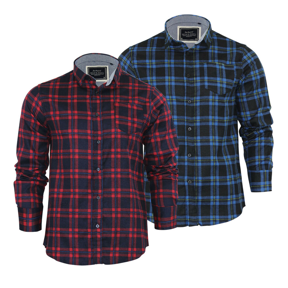mens check shirt brave soul duffey flannel brushed cotton long sleeve casual top ebay. Black Bedroom Furniture Sets. Home Design Ideas