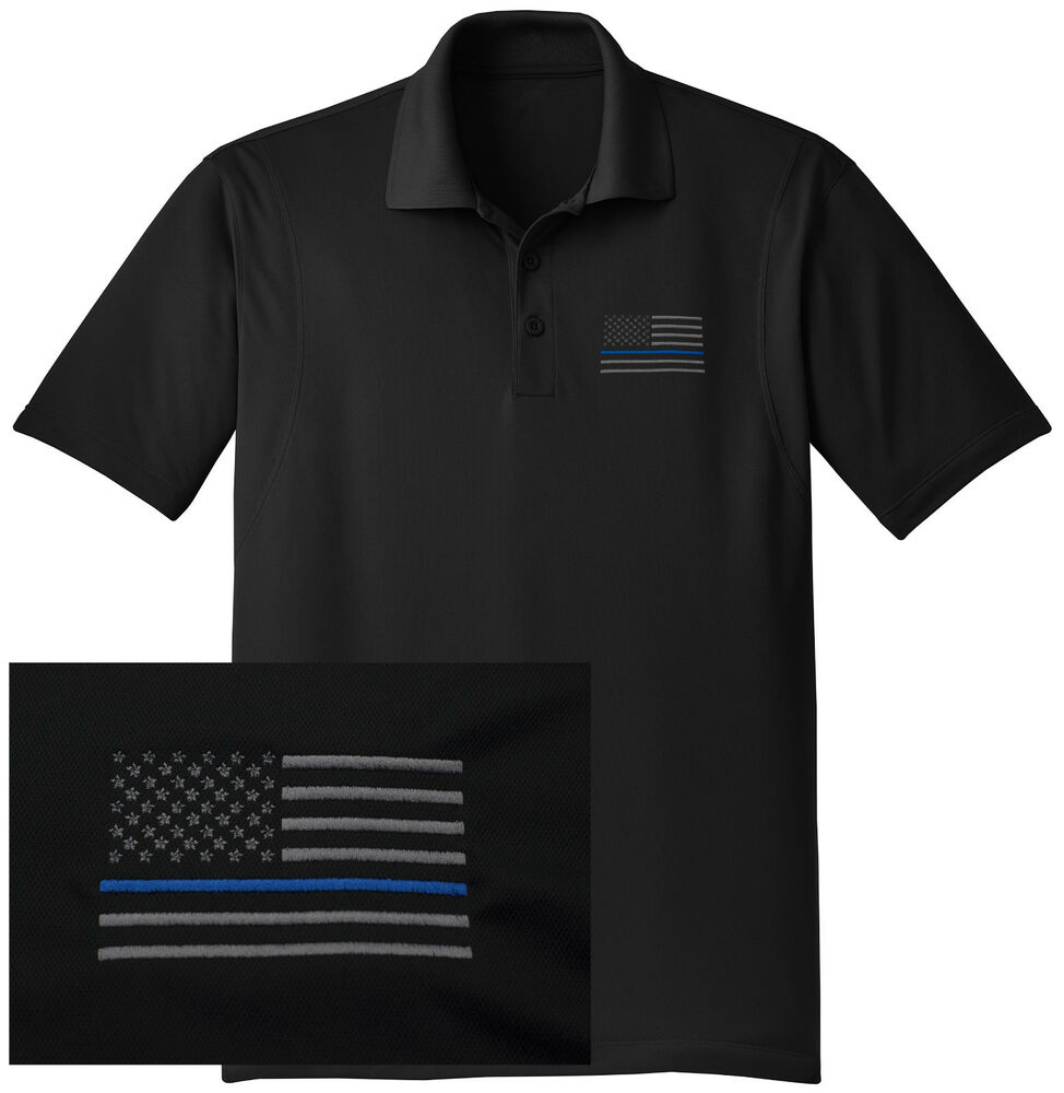 New thin blue line embroidered wicking dryfit black polo for Embroidered police polo shirts