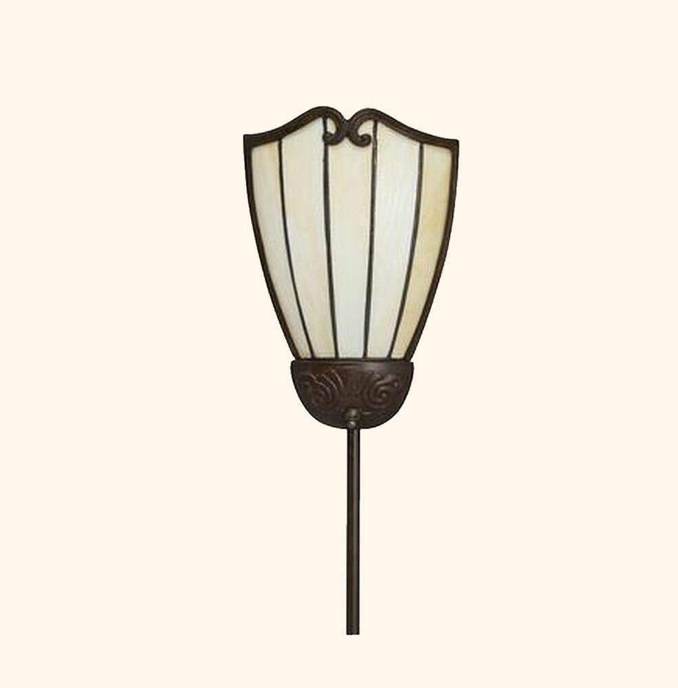 Plug In Wall Sconce Glass Shade : PLUG IN WALL CORNER LAMP Bronze Finish w/ Stained Glass Shade Home Office Hall eBay