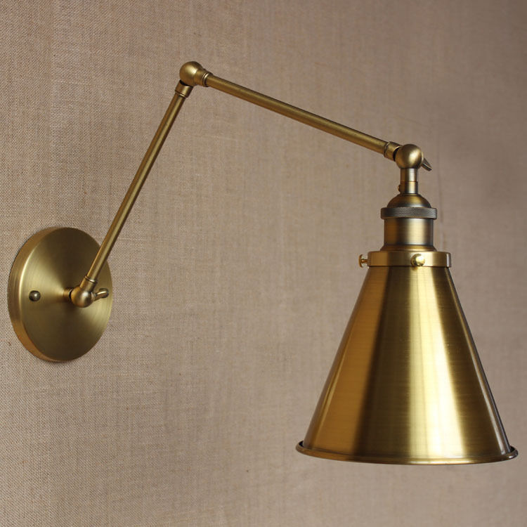 rh loft brass gold color two long arm sconce home office