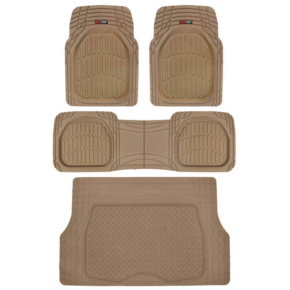 4pc Beige Car Floor Mats Set Rubber Tortoise Liners W