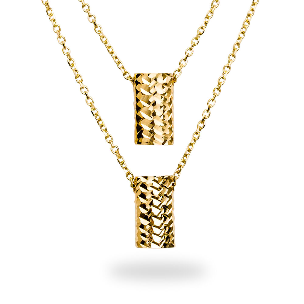 14k gold polished diamond cut rectangle necklace sku for What is gold polished jewelry