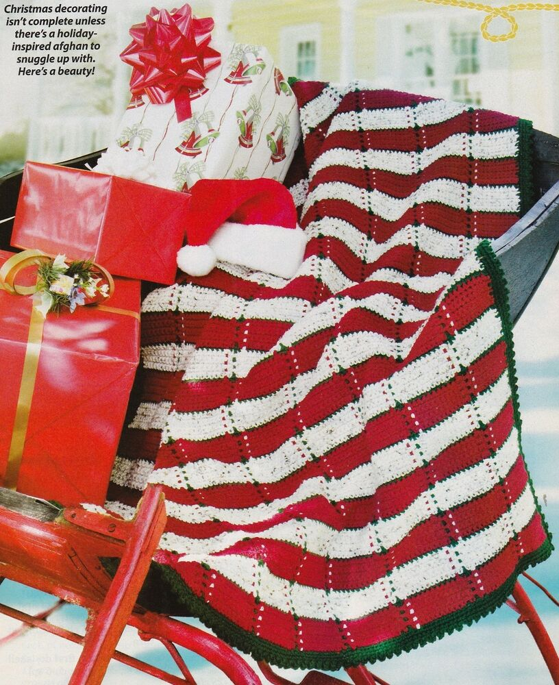 Country Christmas Plaid Afghancrochet Pattern Instructions Only Ebay