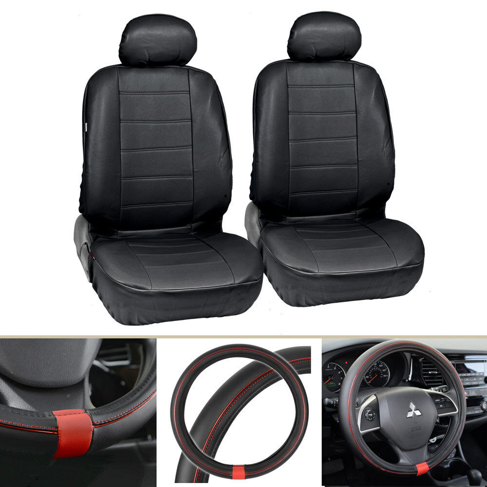 Black PU Leather Front Car Seat Covers Steering Wheel