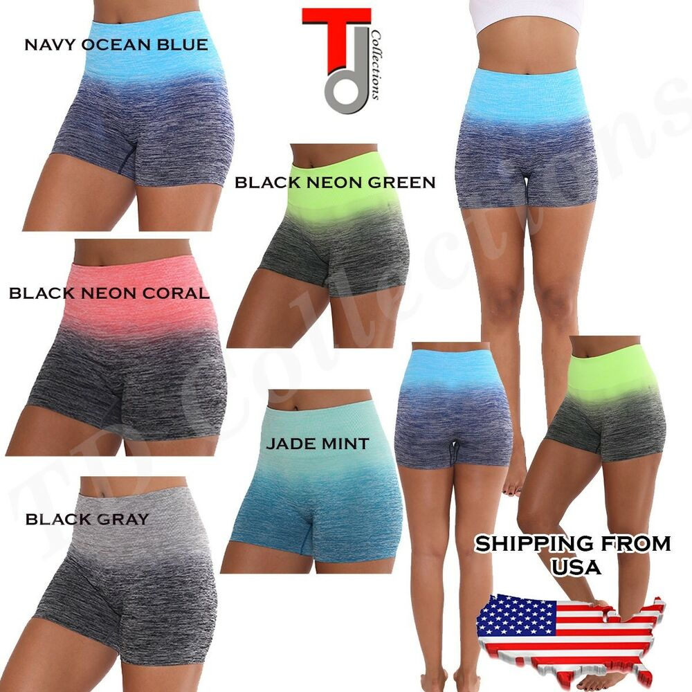 WOMEN Nylon,Polyester ,Spandex TWO TONE OMBRE SHORTS YOGA
