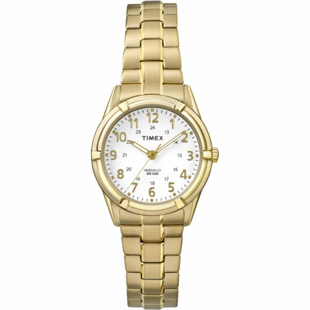 Ladies timex indiglo gold tone stretch expansion white dial watch tw2p89100 ebay for Indiglo watches