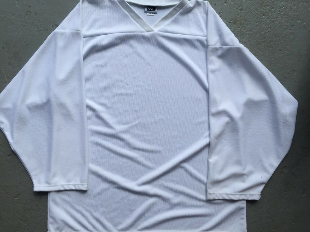 6bfed1383 Details about WHITE Authentic Pro BLANK Mens Beer Travel DropIn League  Hockey PRACTICE Jersey