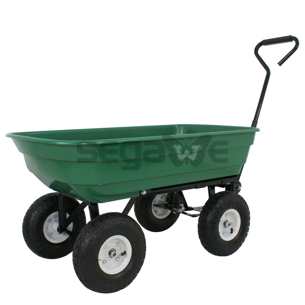 Tractor Pulled Wagon : Dump cart heavy duty poly garden lb capacity