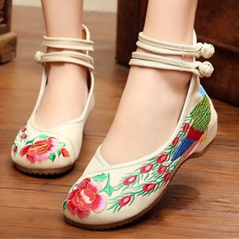 New Chinese Style Women Casual Shoes Flower Sandals ...