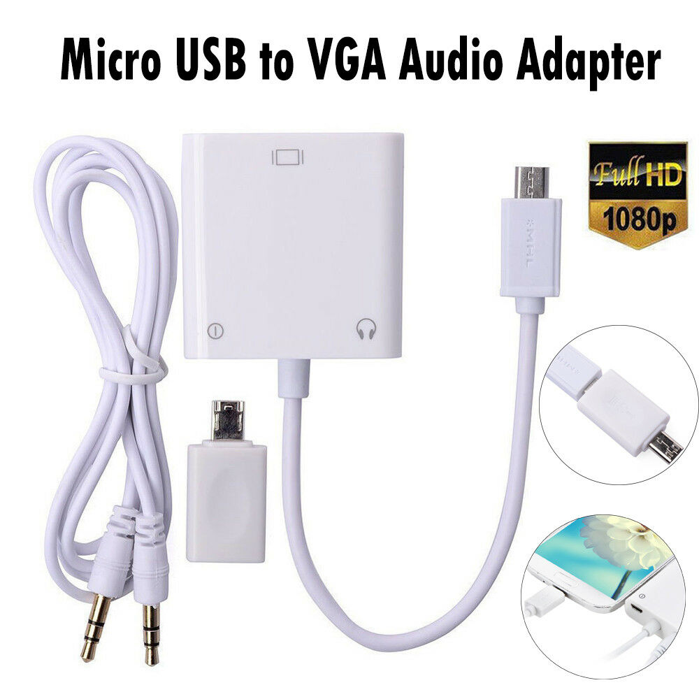 Samsung Audio Cables And Connectors : Mhl micro usb to vga and audio adapter connector cable for