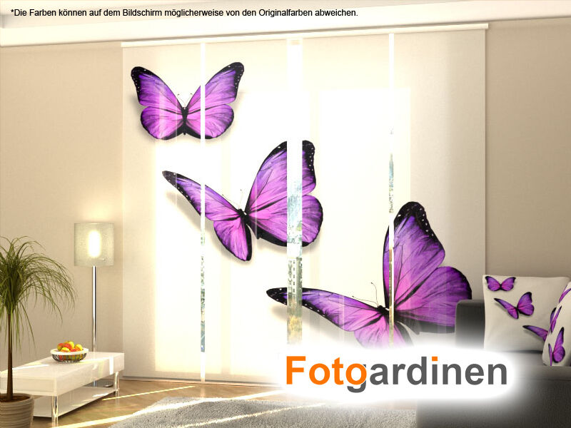 fotogardinen schmetterlinge schiebevorhang schiebegardinen mit motiv auf ma ebay. Black Bedroom Furniture Sets. Home Design Ideas