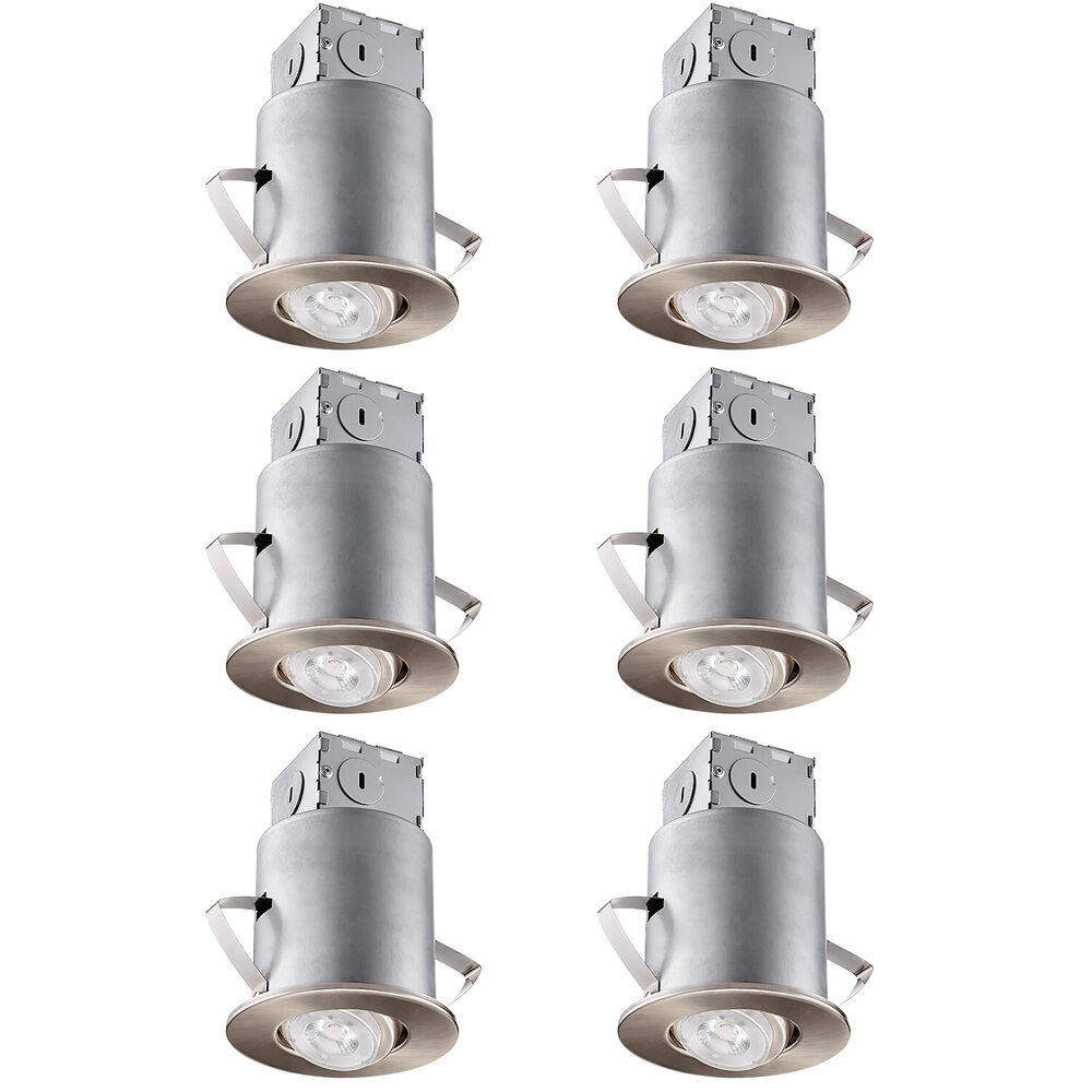 6 Pack 4 Inch White Recessed Can Gimbal Trim Kit Gu10