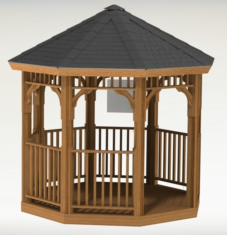 Octagon gazebo building plans ebay for Gazebo house plans