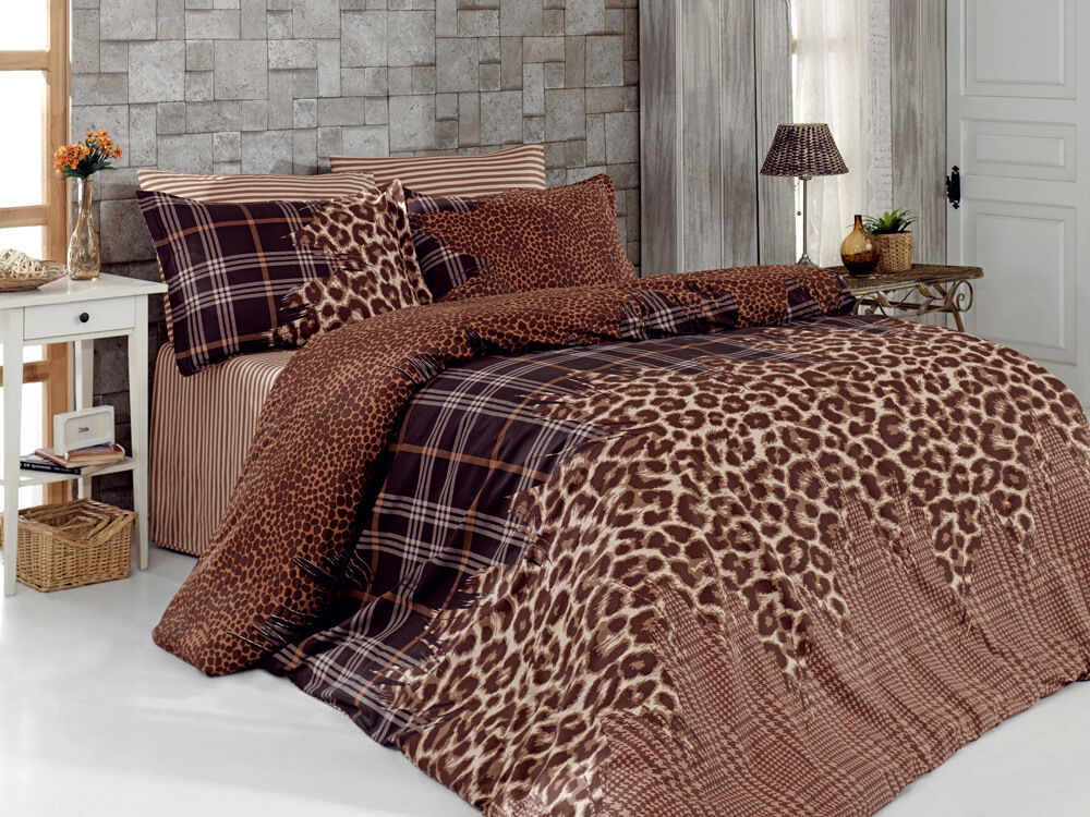 6 tlg bettw sche bettgarnitur 100 baumwolle kissen decke 220x240cm leopard brau ebay. Black Bedroom Furniture Sets. Home Design Ideas
