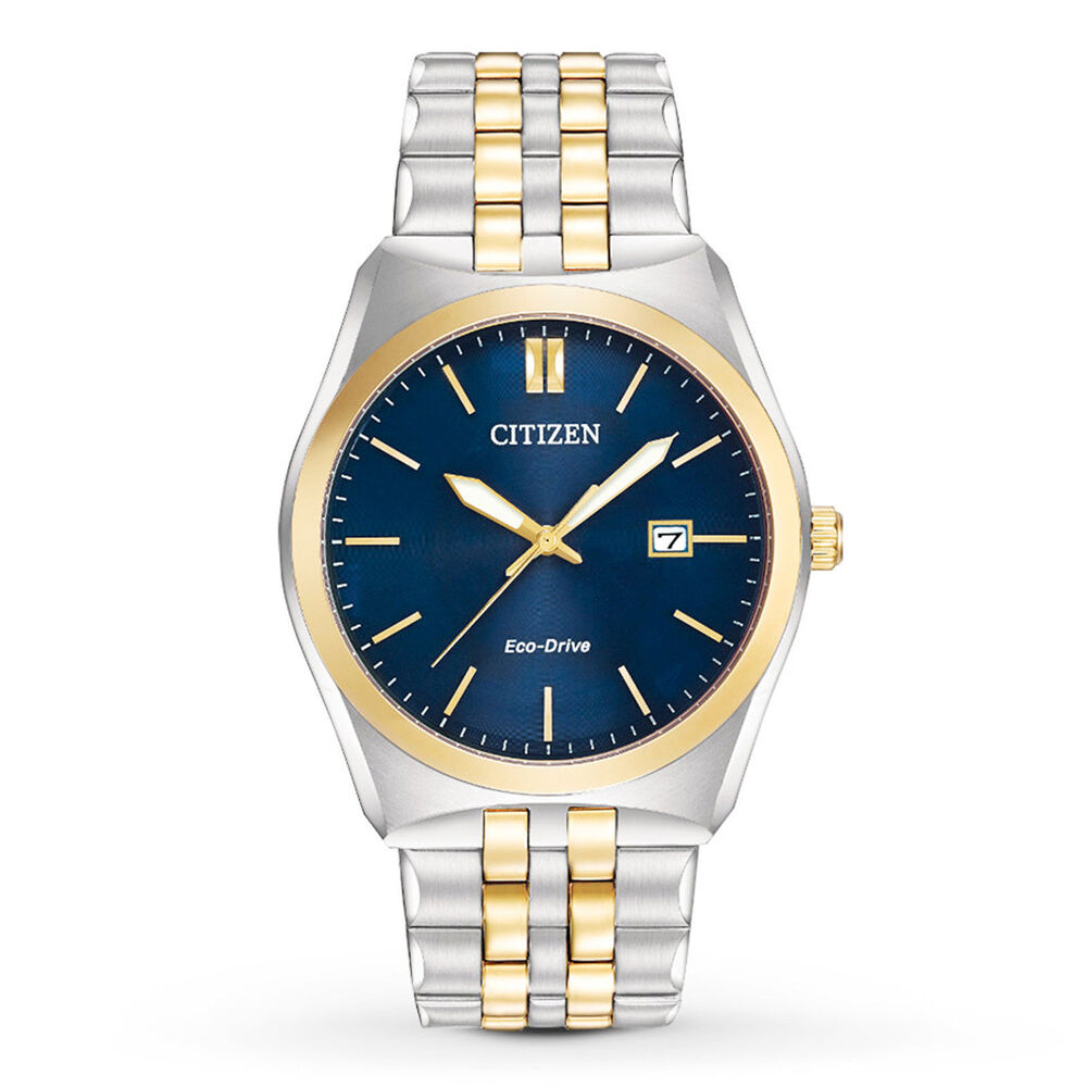 mens citizen eco drive gold silver stainless steel blue
