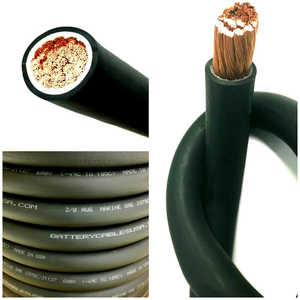 2 0 Awg 00 Gauge Battery Cable Black Pure Copper Power