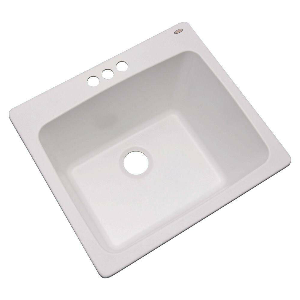 Utility Sinks For Laundry Room: 3-Hole 25 In. Drop In Single Bowl Kitchen Utility Sink