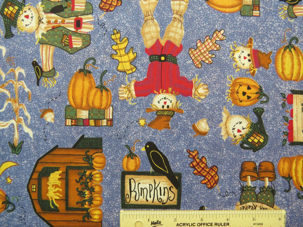 Autumn Pumpkins Scarecrows Apples Harvest Cotton Fabric ...
