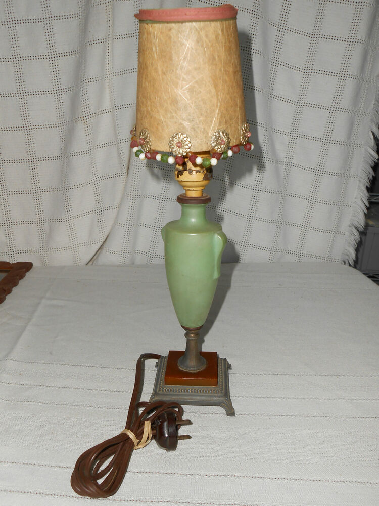 Vintage Glass Table Lamps : Vintage frosted green glass table lamp brass bronze base