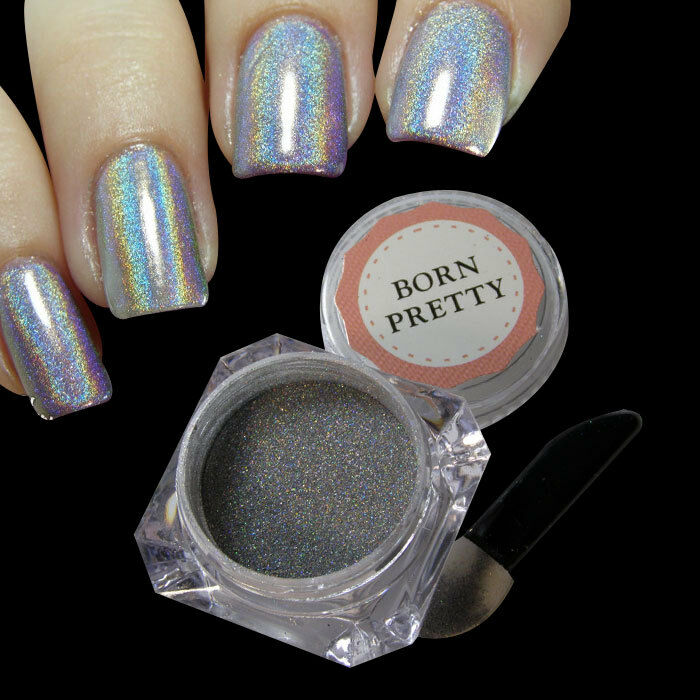 1g/Box Holographic Laser Powder Nail Glitter Rainbow