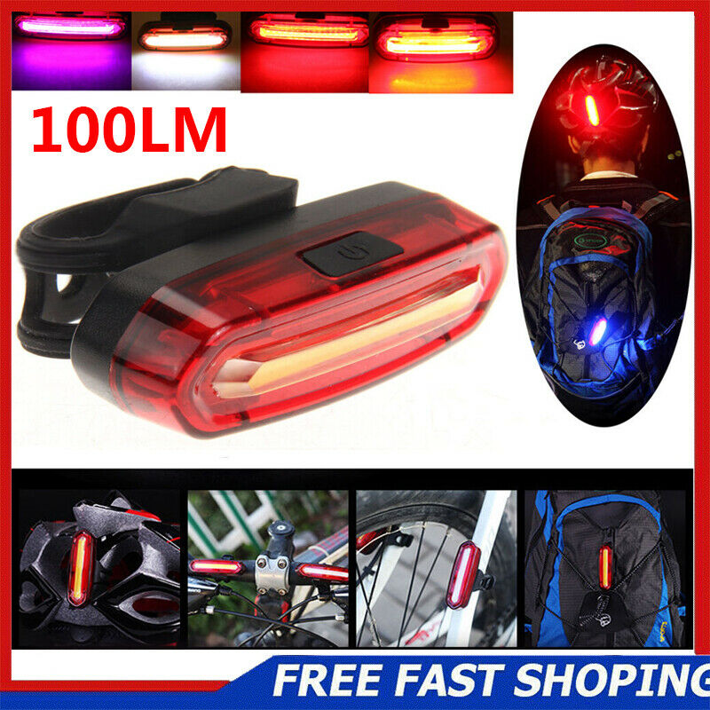 COB LED Bicycle Bike Cycling Front Rear Tail Light USB Rechargeable 6Mode Lamp 1