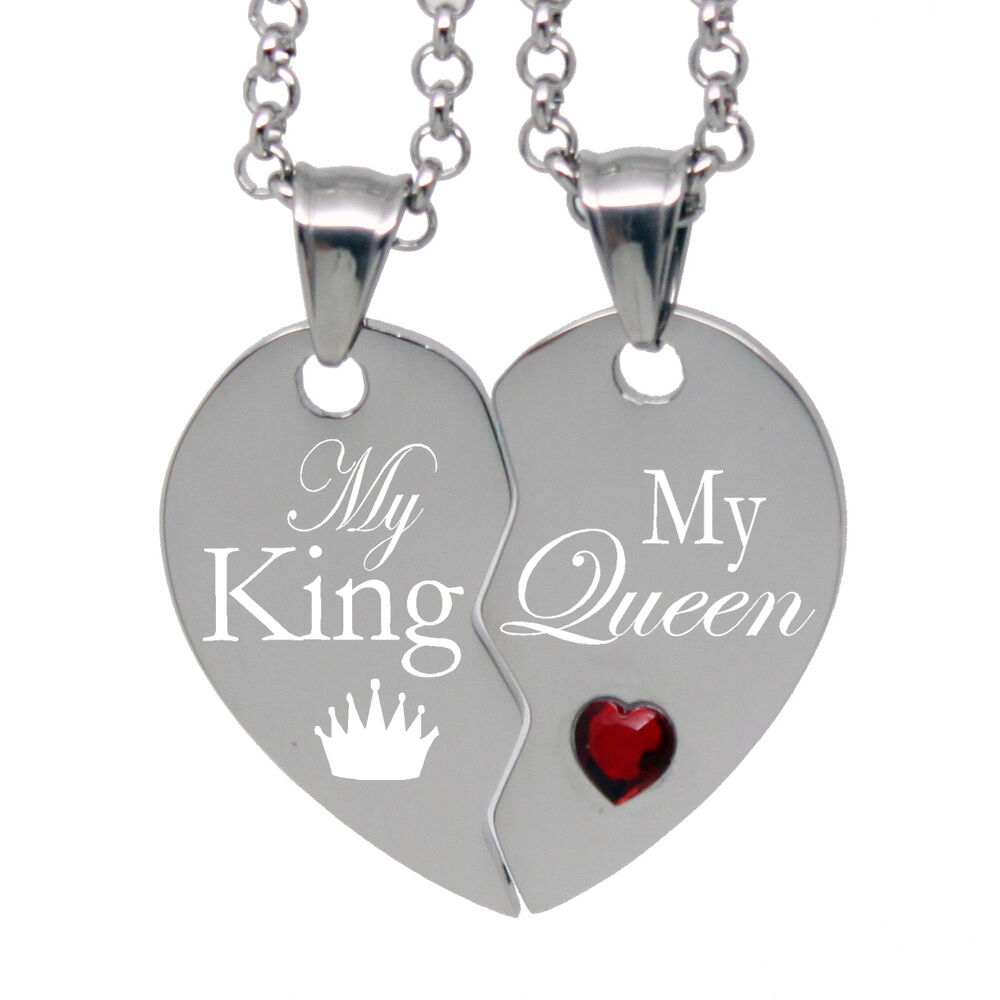 His Her Split Heart Necklace My King My Queen Free