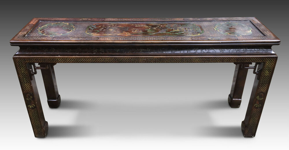 Vintage john widdicomb long wood side table chinese asian for Long side table