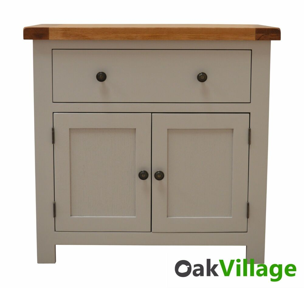 Tuscan grey painted oak mini sideboard dresser storage for Painted buffet sideboard