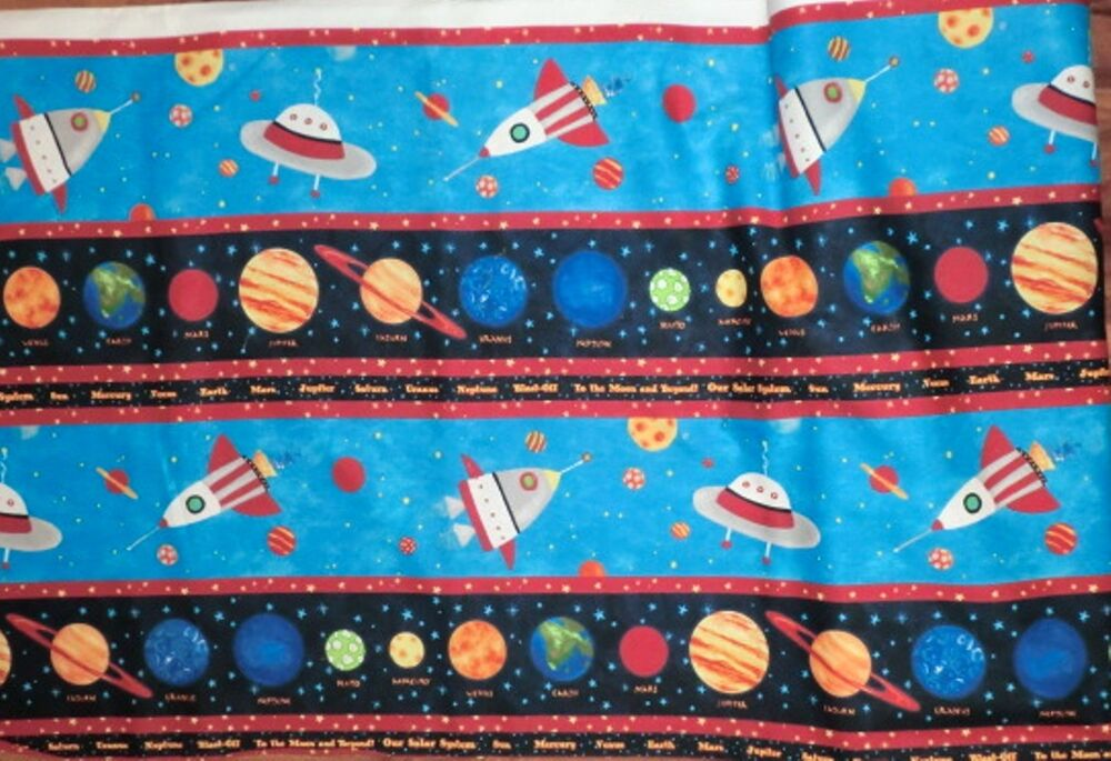 Outer space fabric cruising the galaxy solar planets for Space fabric by the yard