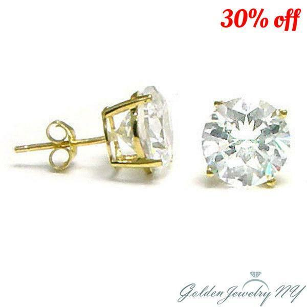 712ee597c Details about 14K Solid Yellow Gold Round CZ Stud Earrings Basket Setting  sizes2-10mm FREE BOX