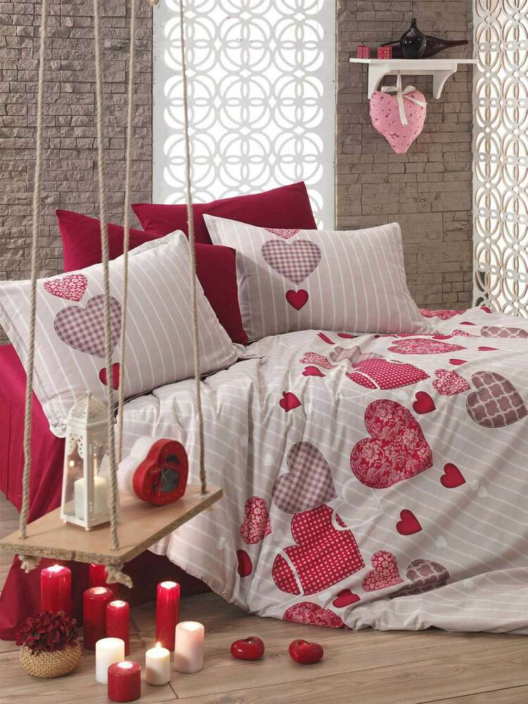 5 tlg bettw sche bettgarnitur bettbezug 100 baumwolle kissen 200x200 cm heart r ebay. Black Bedroom Furniture Sets. Home Design Ideas