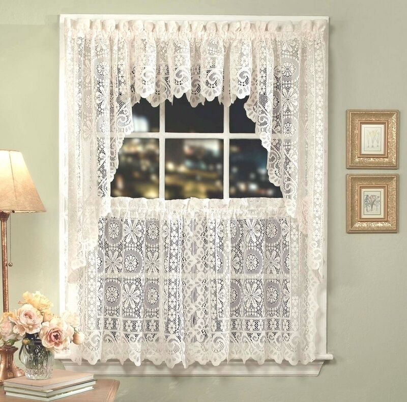 Hopewell lace kitchen curtain white or cream tiers swags valances new ebay - Kitchen swag valances ...