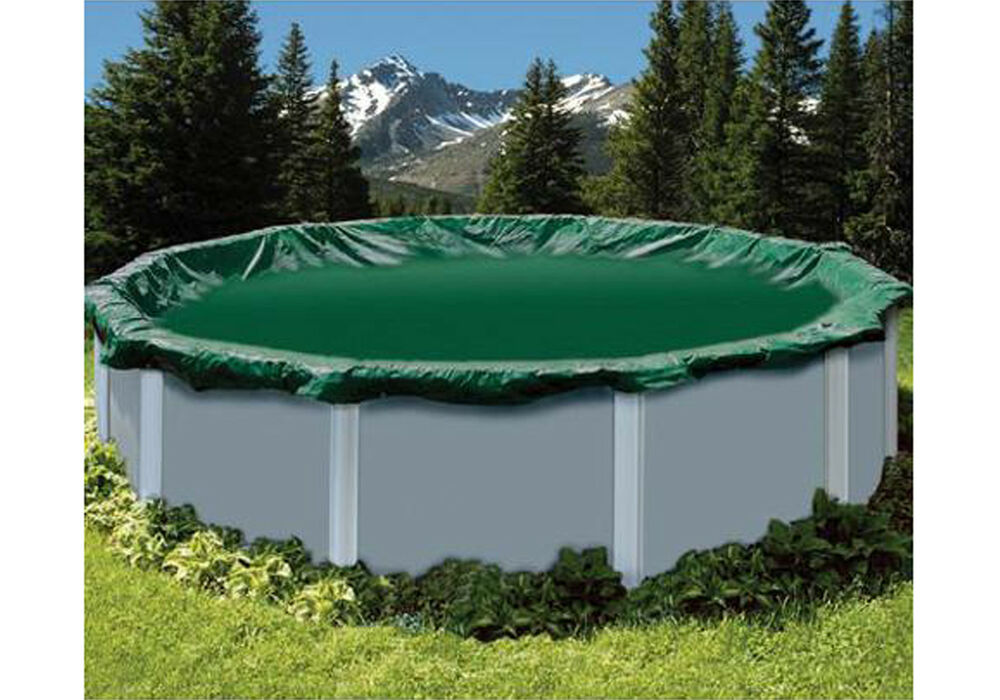 28 39 ft round snow2winter green swimming pool above ground winter cover ebay for Round swimming pools above ground