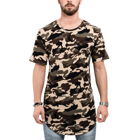 img-Blackskies round Longshirt T-Shirt Camo Woodland Camouflage Oversize Long Men's