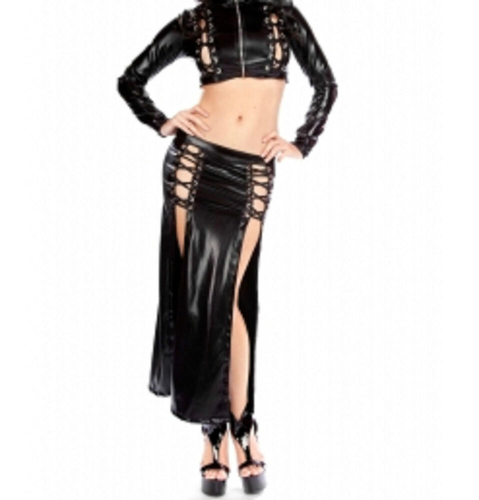 Variant, latex skirts lace up back