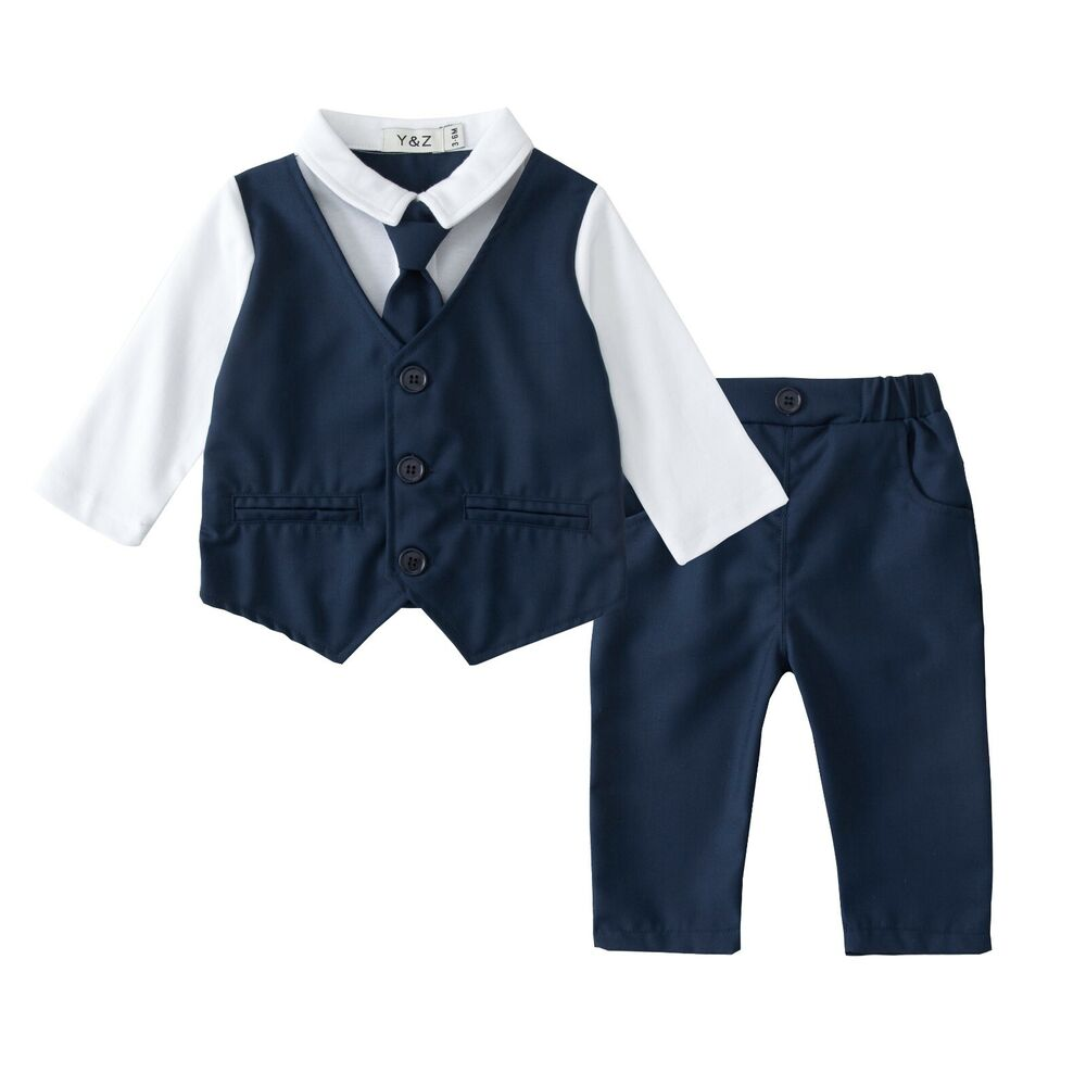 Baby Boy Christening Formal Wedding Tuxedo 2pc Blue Suit ...