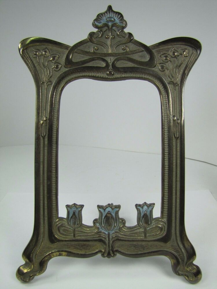 Antique Art Nouveau Frame Tulips Flowers Cast Iron Brass
