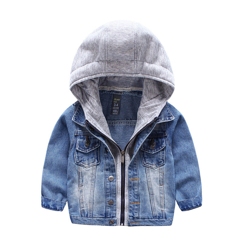 Baby Boy Kids Toddler Denim Jacket Cowboy Hoodie Coat ...