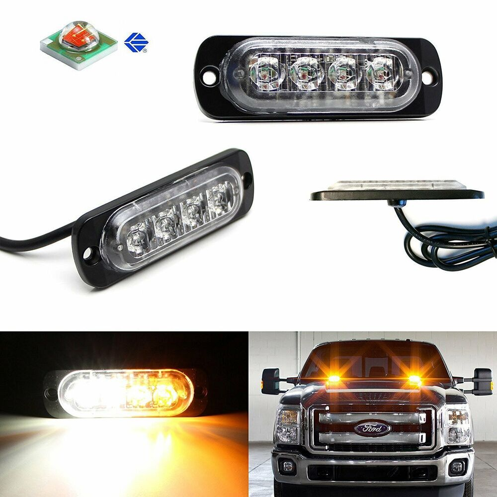 2pc Cree 4 Led Strobe Warning Light Flashers For Truck
