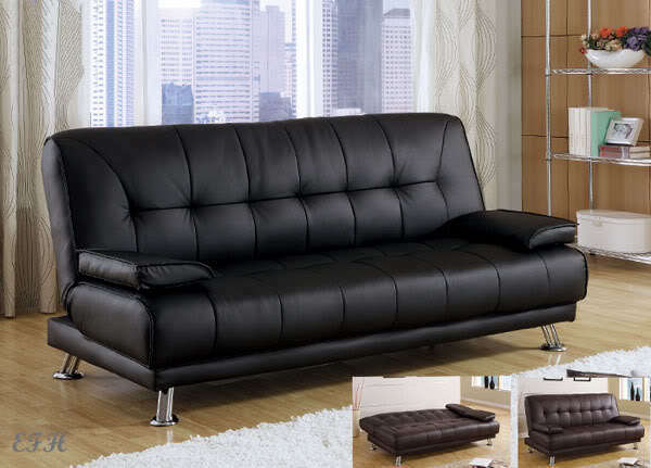 new benson black or brown bycast leather futon sofa bed lounger w pillows ebay. Black Bedroom Furniture Sets. Home Design Ideas