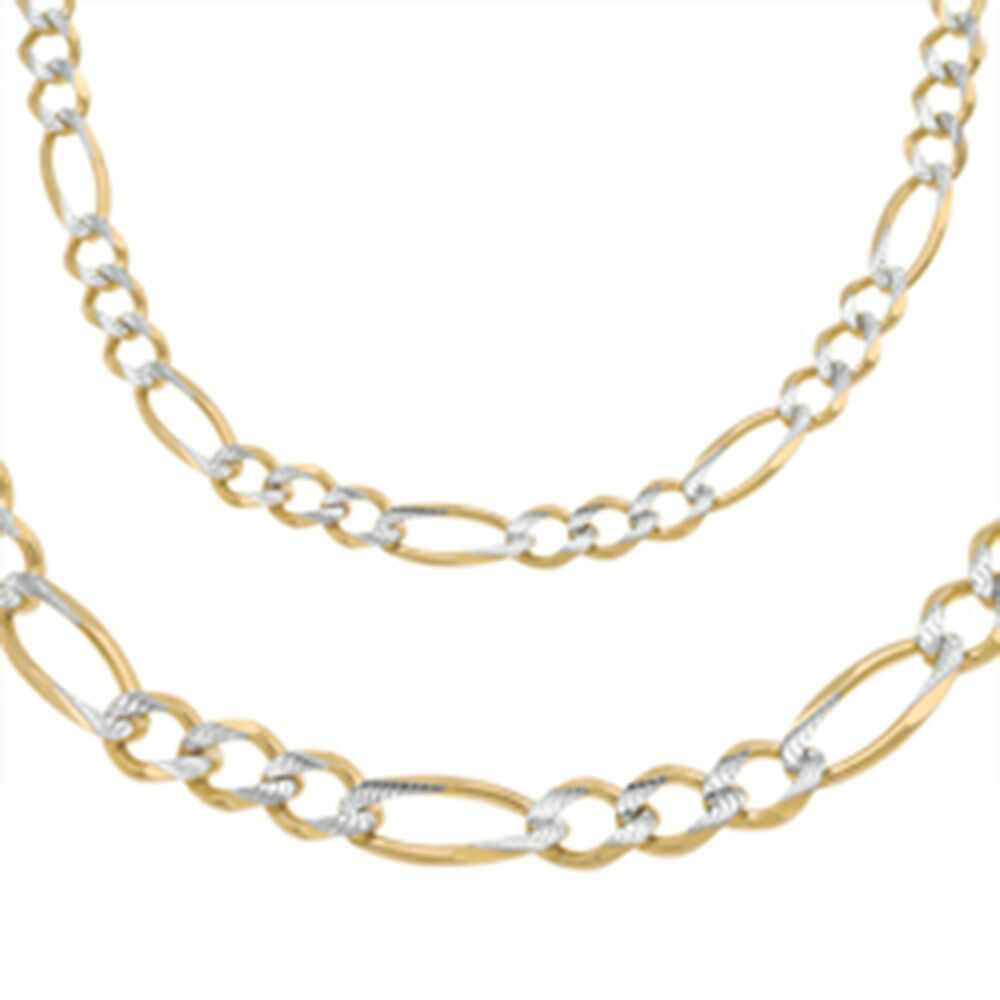 White Gold Chain Bracelet: 14k White Pave Gold Figaro Chain Necklace Italy Solid Two