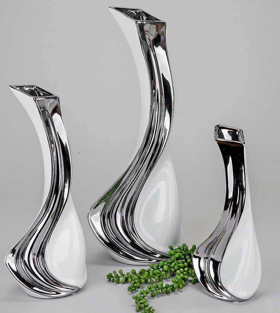 formano elegante vase keramik weiss silber deko objekt blumenvase gr e w hlen ebay. Black Bedroom Furniture Sets. Home Design Ideas