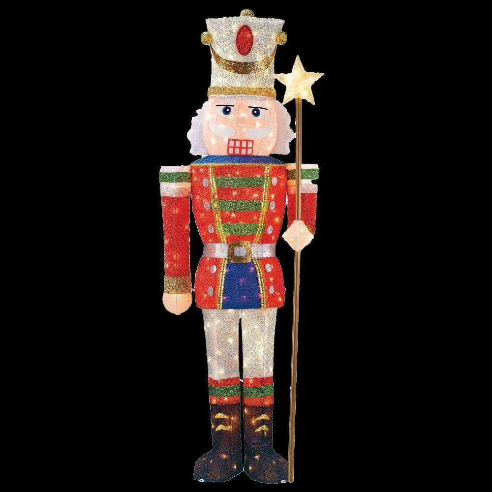 Tinsel nutcracker soldier 5 ft pre lit outdoor holiday for Christmas decoration items
