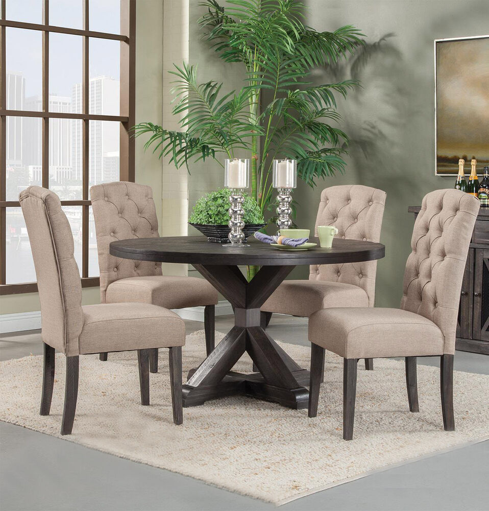Details about new 5pc newberry round 54 acacia wood gray finish dining table set linen chairs